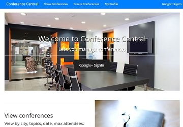 screenshot of conference central page